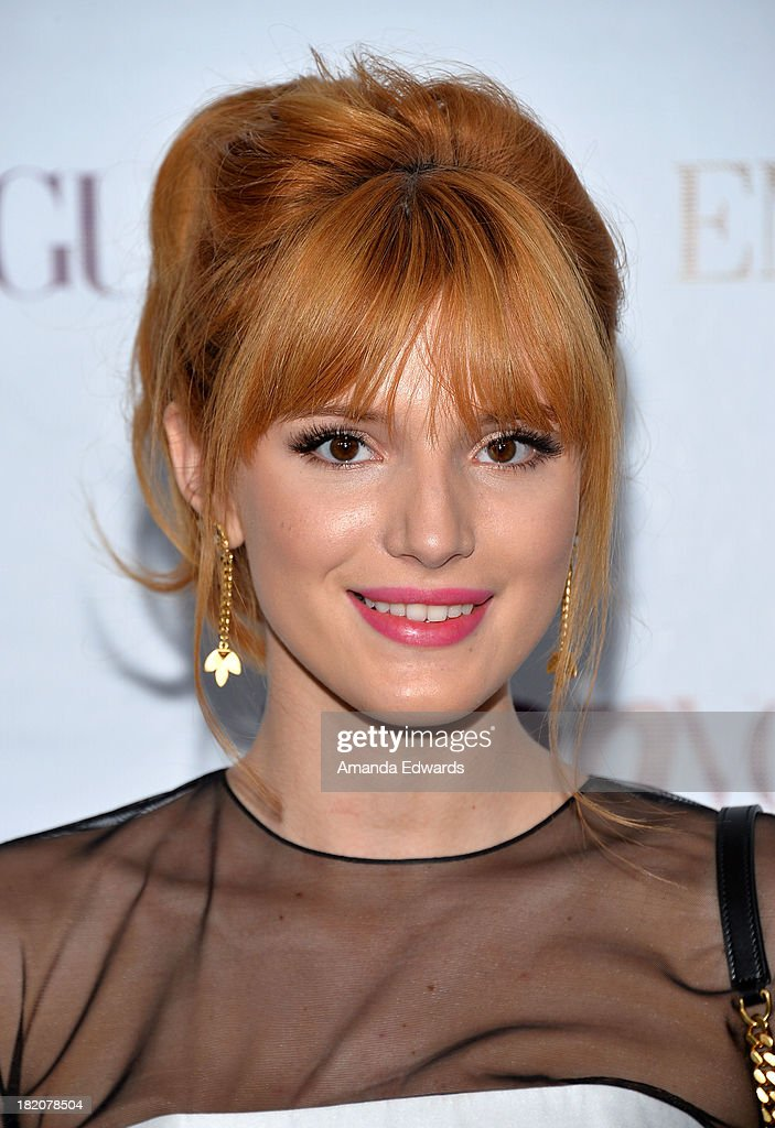 Actress <a gi-track='captionPersonalityLinkClicked' href=/galleries/search?phrase=Bella+Thorne&family=editorial&specificpeople=5083663 ng-click='$event.stopPropagation()'>Bella Thorne</a> arrives at the 11th Annual Teen Vogue Young Hollywood Party With Emporio Armani on September 27, 2013 in Los Angeles, California.