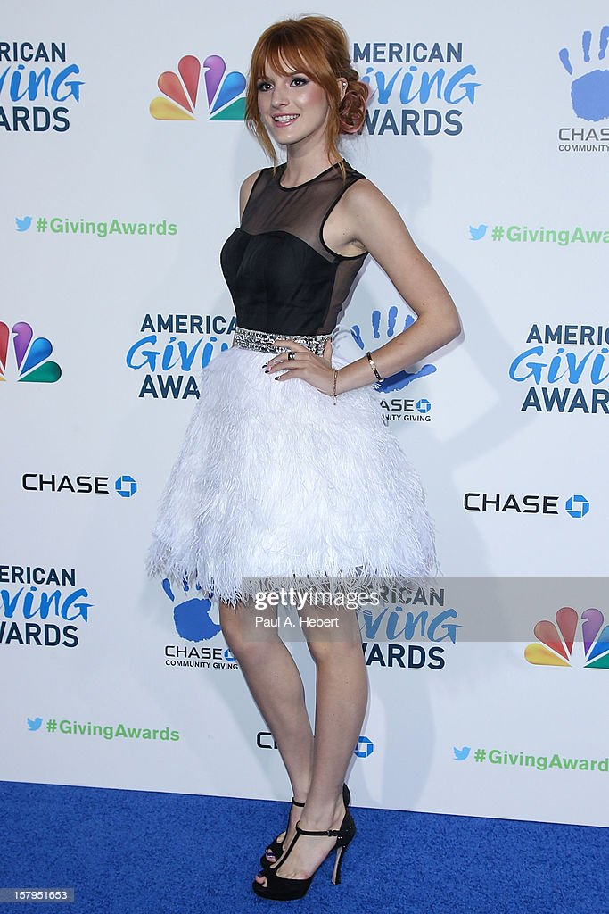 Actress <a gi-track='captionPersonalityLinkClicked' href=/galleries/search?phrase=Bella+Thorne&family=editorial&specificpeople=5083663 ng-click='$event.stopPropagation()'>Bella Thorne</a> arrives at the 2nd Annual American Giving Awards presented by Chase held at the Pasadena Civic Auditorium on December 7, 2012 in Pasadena, California.