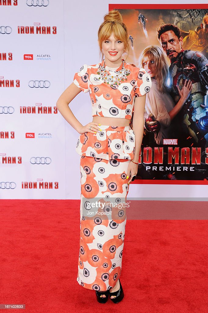 Actress <a gi-track='captionPersonalityLinkClicked' href=/galleries/search?phrase=Bella+Thorne&family=editorial&specificpeople=5083663 ng-click='$event.stopPropagation()'>Bella Thorne</a> arrives at the Los Angeles Premiere 'Iron Man 3' at the El Capitan Theatre on April 24, 2013 in Hollywood, California.
