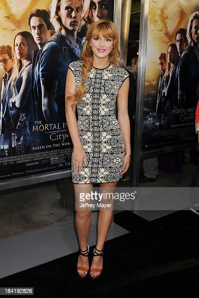 Actress Bella Thorne arrives at the Los Angeles premiere of 'The Mortal Instruments City Of Bones' at ArcLight Cinemas Cinerama Dome on August 12...