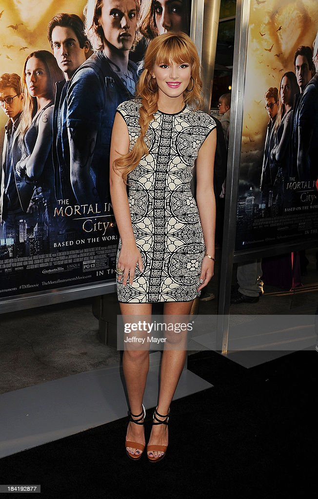 Actress <a gi-track='captionPersonalityLinkClicked' href=/galleries/search?phrase=Bella+Thorne&family=editorial&specificpeople=5083663 ng-click='$event.stopPropagation()'>Bella Thorne</a> arrives at the Los Angeles premiere of 'The Mortal Instruments: City Of Bones' at ArcLight Cinemas Cinerama Dome on August 12, 2013 in Hollywood, California.