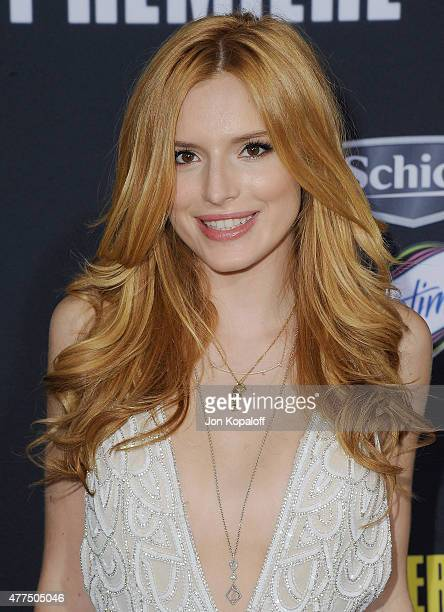 Actress Bella Thorne arrives at the Los Angeles Premiere 'Pitch Perfect 2' at Nokia Theatre LA Live on May 8 2015 in Los Angeles California