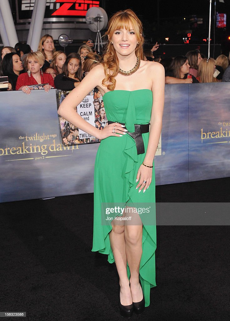 Actress Bella Thorne arrives at the Los Angeles Premiere 'The Twilight Saga: Breaking Dawn - Part 2' at Nokia Theatre L.A. Live on November 12, 2012 in Los Angeles, California.