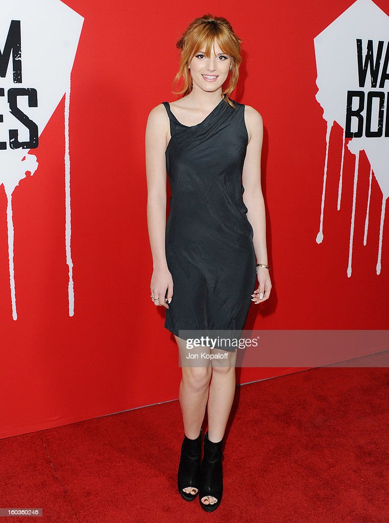 Actress <a gi-track='captionPersonalityLinkClicked' href=/galleries/search?phrase=Bella+Thorne&family=editorial&specificpeople=5083663 ng-click='$event.stopPropagation()'>Bella Thorne</a> arrives at the Los Angeles Premiere 'Warm Bodies' at ArcLight Cinemas Cinerama Dome on January 29, 2013 in Hollywood, California.