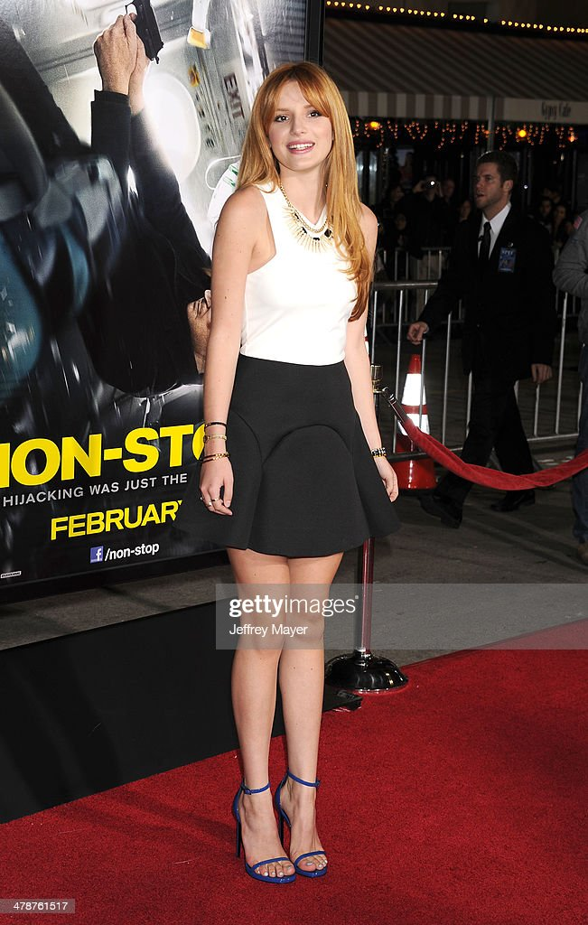 Actress <a gi-track='captionPersonalityLinkClicked' href=/galleries/search?phrase=Bella+Thorne&family=editorial&specificpeople=5083663 ng-click='$event.stopPropagation()'>Bella Thorne</a> arrives at the 'Non-Stop' at Regency Village Theatre on February 24, 2014 in Westwood, California.