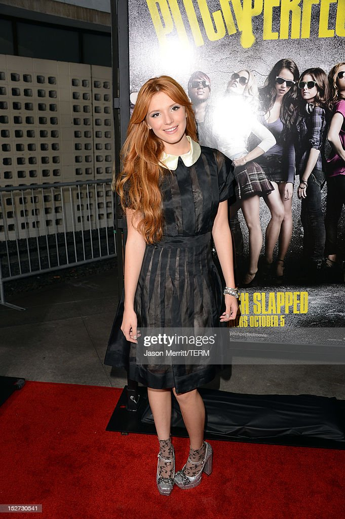 Actress <a gi-track='captionPersonalityLinkClicked' href=/galleries/search?phrase=Bella+Thorne&family=editorial&specificpeople=5083663 ng-click='$event.stopPropagation()'>Bella Thorne</a> arrives at the premiere of Universal Pictures And Gold Circle Films' 'Pitch Perfect' at ArcLight Cinemas on September 24, 2012 in Hollywood, California.