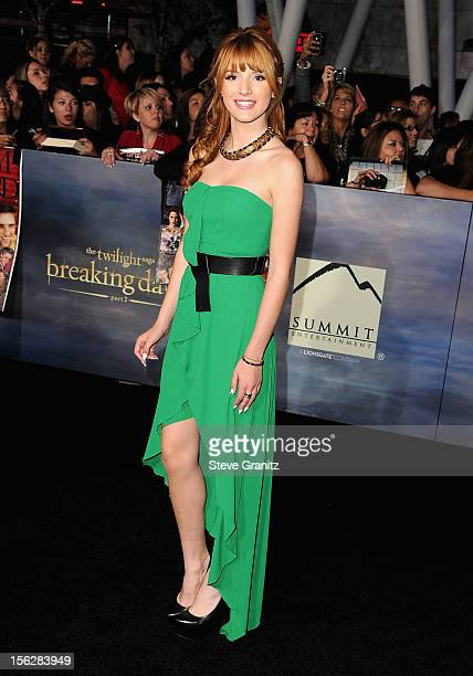 Actress Bella Thorne arrives at 'The Twilight Saga Breaking Dawn Part 2' Los Angeles premiere at Nokia Theatre LA Live on November 12 2012 in Los...