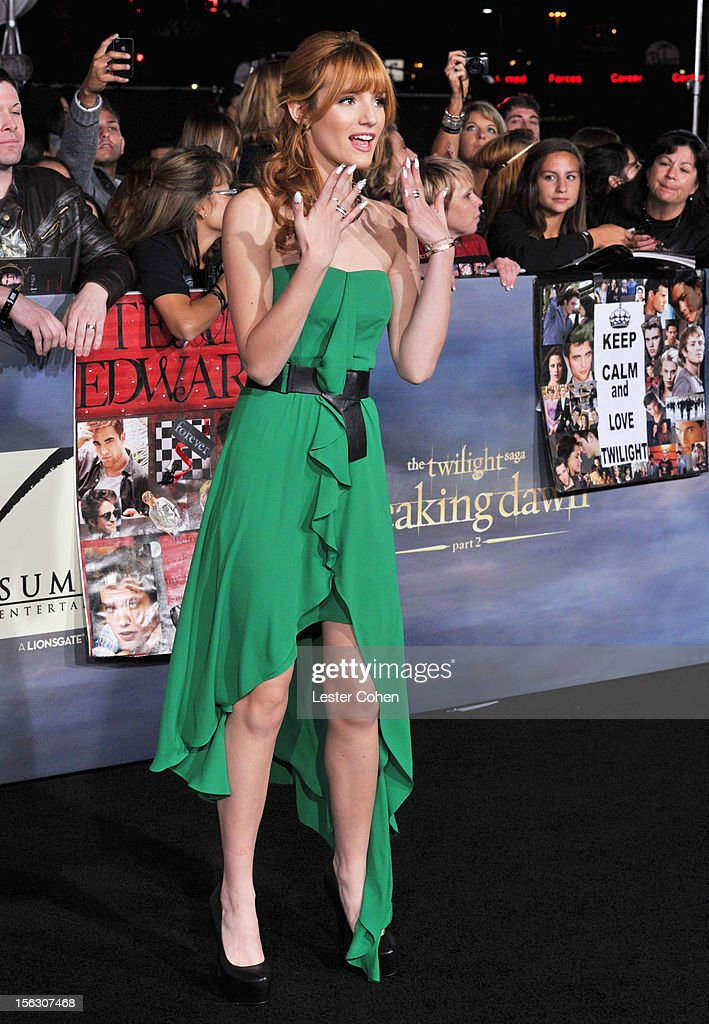 Actress Bella Thorne arrives at 'The Twilight Saga: Breaking Dawn - Part 2' Los Angeles premiere at the Nokia Theatre L.A. Live on November 12, 2012 in Los Angeles, California.