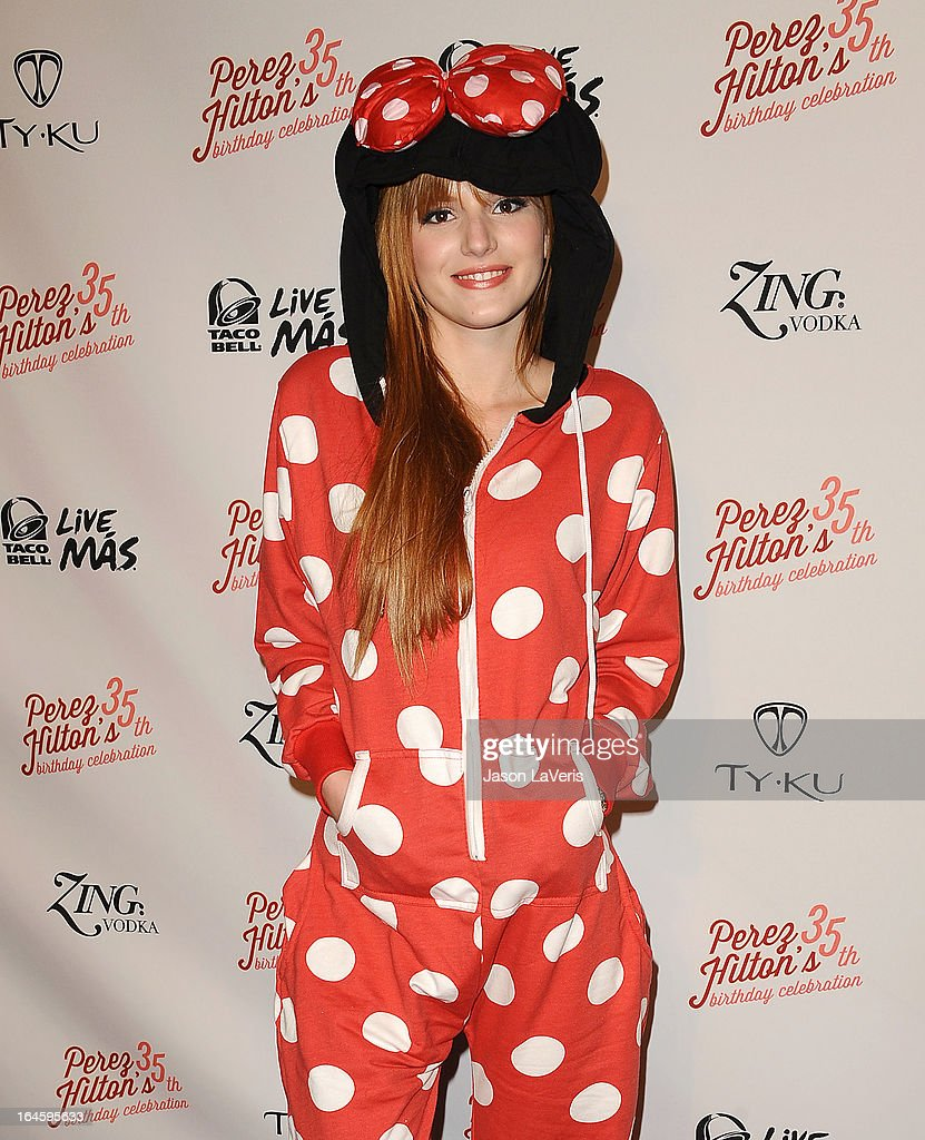 Actress Bella Thorne attends Perez Hilton's 35th birthday party at El Rey Theatre on March 23, 2013 in Los Angeles, California.
