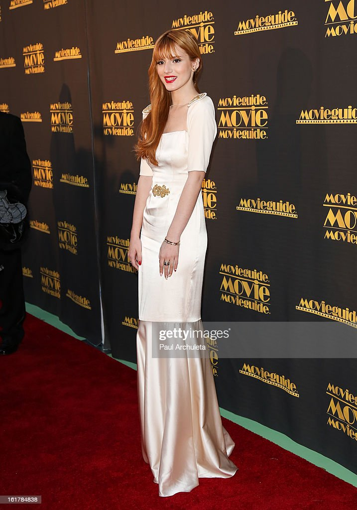 Actress <a gi-track='captionPersonalityLinkClicked' href=/galleries/search?phrase=Bella+Thorne&family=editorial&specificpeople=5083663 ng-click='$event.stopPropagation()'>Bella Thorne</a> attends the 21st annual Movieguide Awards at Hilton Universal City on February 15, 2013 in Universal City, California.
