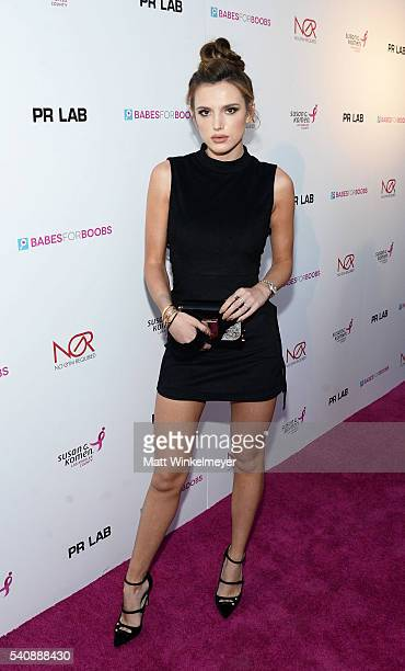 Actress Bella Thorne attends the Babes for Boobs Bachelor Auction benefitting the Los Angeles County Affiliate of Susan G Komen on June 16 2016 in...