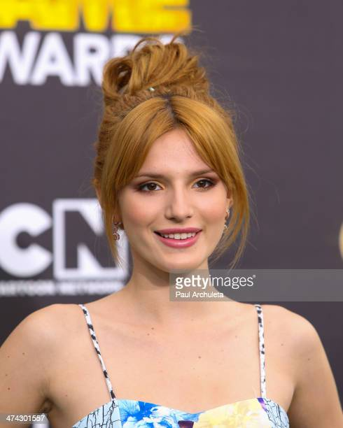 Actress Bella Thorne attends the Cartoon Network's Hall Of Game Awards at Barker Hangar on February 15 2014 in Santa Monica California