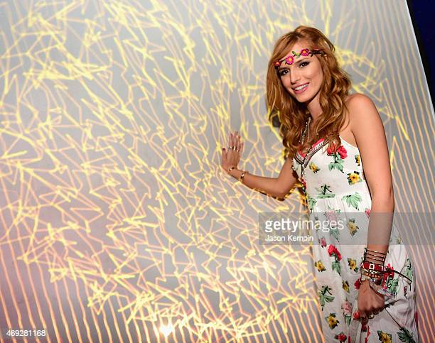 Actress Bella Thorne attends the HM Loves Coachella Tent at the 2015 Coachella Valley Music Arts Festival at the Empire Polo Club on April 10 2015 in...