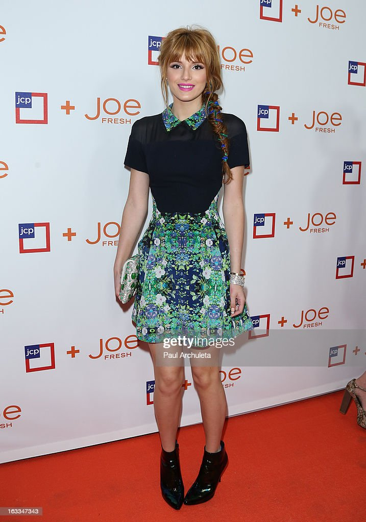 Actress <a gi-track='captionPersonalityLinkClicked' href=/galleries/search?phrase=Bella+Thorne&family=editorial&specificpeople=5083663 ng-click='$event.stopPropagation()'>Bella Thorne</a> attends the JCPenney 'Joe Fresh' launch party at the Joe Fresh at jcp Pop Up store on March 7, 2013 in Los Angeles, California.