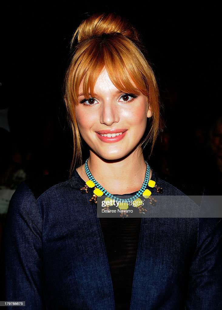 Actress <a gi-track='captionPersonalityLinkClicked' href=/galleries/search?phrase=Bella+Thorne&family=editorial&specificpeople=5083663 ng-click='$event.stopPropagation()'>Bella Thorne</a> attends the Nicole Miller show during Spring 2014 Mercedes-Benz Fashion Week at The Studio at Lincoln Center on September 6, 2013 in New York City.