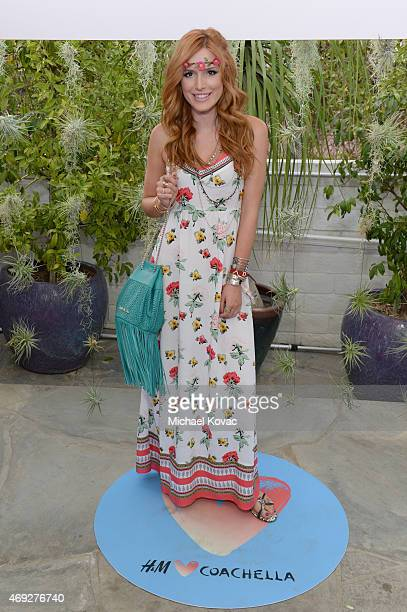 Actress Bella Thorne attends the Official HM Loves Coachella Party at the Parker Palm Springs on April 10 2015 in Palm Springs California