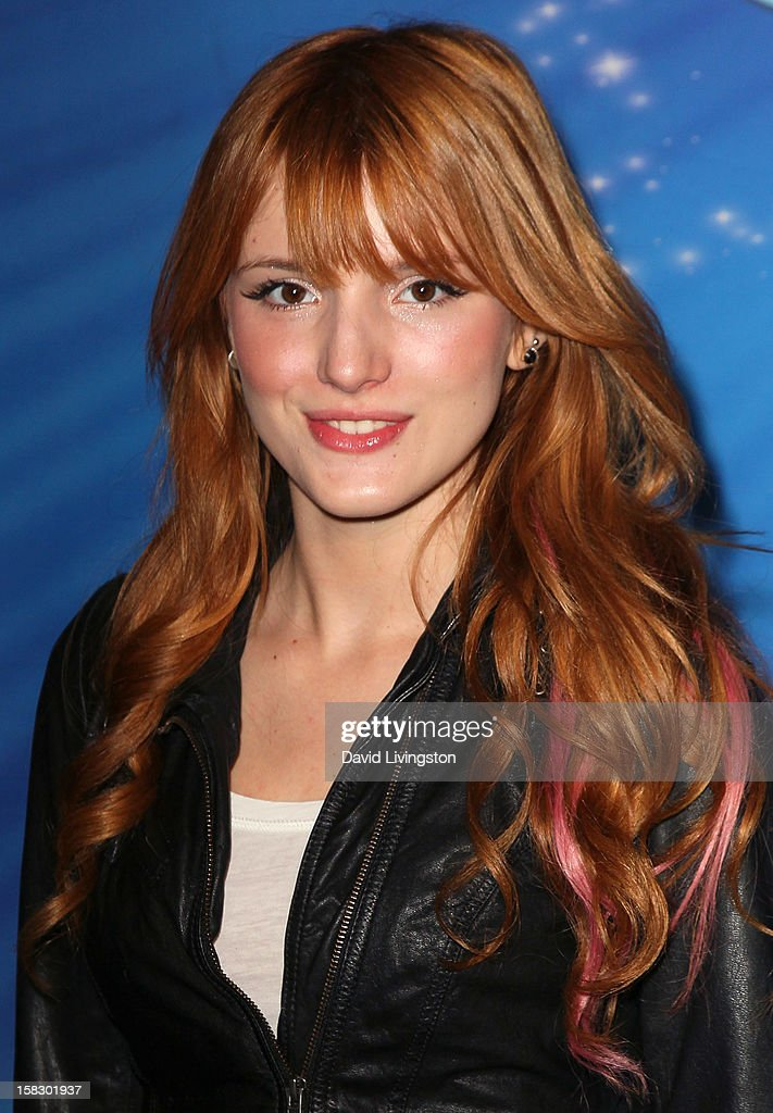 Actress <a gi-track='captionPersonalityLinkClicked' href=/galleries/search?phrase=Bella+Thorne&family=editorial&specificpeople=5083663 ng-click='$event.stopPropagation()'>Bella Thorne</a> attends the opening night of Disney On Ice's 'Dare To Dream' at LA Kings Holiday Ice at L.A. LIVE on December 12, 2012 in Los Angeles, California.