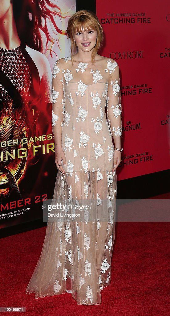 Actress Bella Thorne attends the premiere of Lionsgate's 'The Hunger Games: Catching Fire' at Nokia Theatre L.A. Live on November 18, 2013 in Los Angeles, California.