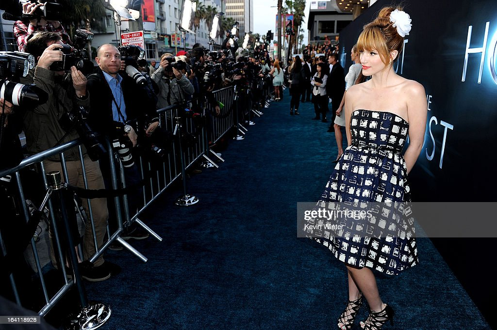 Actress <a gi-track='captionPersonalityLinkClicked' href=/galleries/search?phrase=Bella+Thorne&family=editorial&specificpeople=5083663 ng-click='$event.stopPropagation()'>Bella Thorne</a> attends the premiere of Open Road Films 'The Host' at ArcLight Cinemas Cinerama Dome on March 19, 2013 in Hollywood, California.