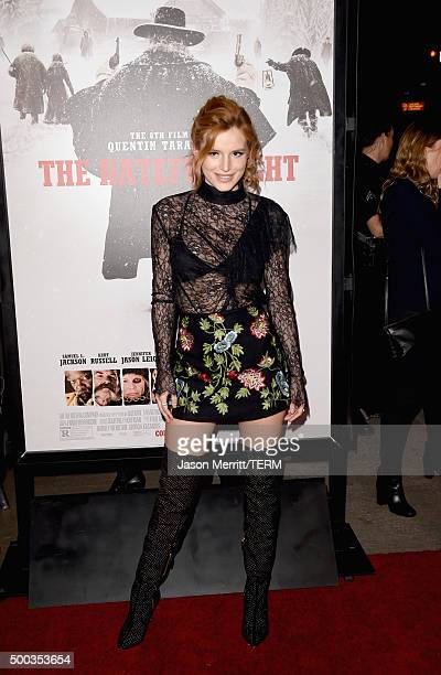 Actress Bella Thorne attends the Premiere of The Weinstein Company's 'The Hateful Eight' at ArcLight Cinemas Cinerama Dome on December 7 2015 in...
