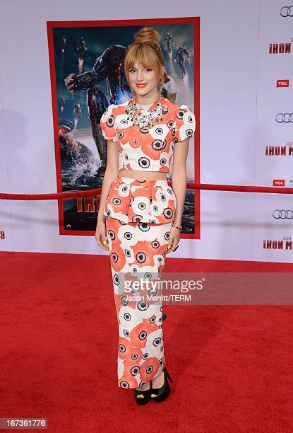 Actress Bella Thorne attends the premiere of Walt Disney Pictures' 'Iron Man 3' at the El Capitan Theatre on April 24 2013 in Hollywood California