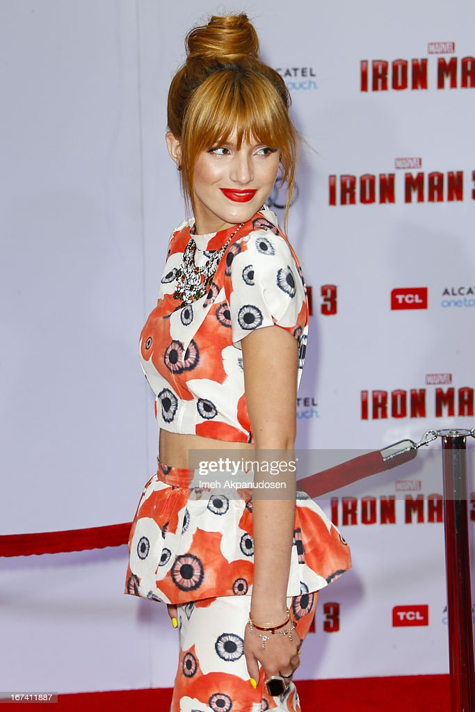 Actress Bella Thorne attends the premiere of Walt Disney Pictures' 'Iron Man 3' at the El Capitan Theatre on April 24, 2013 in Hollywood, California.
