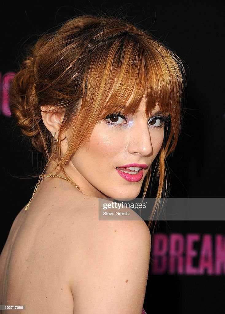 Actress Bella Thorne attends the 'Spring Breakers' Los Angeles Premiere at ArcLight Hollywood on March 14, 2013 in Hollywood, California.