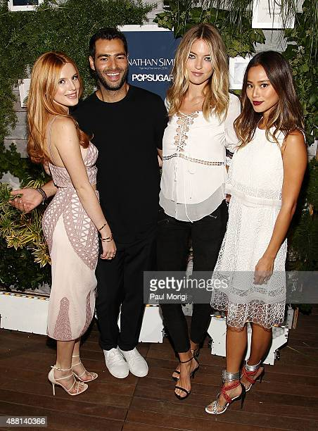Actress Bella Thorne designer Jonathan Simkhai model Martha Hunt and actress Jamie Chung pose for a photo at POPSUGAR's celebration of CFDA designer...