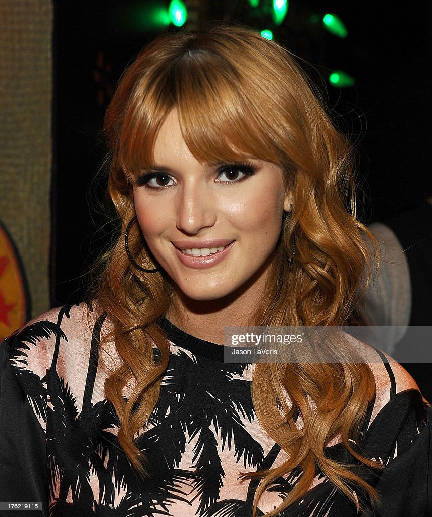 Actress Bella Thorne poses in the green room at the 2013 Teen Choice Awards at Gibson Amphitheatre on August 11, 2013 in Universal City, California.