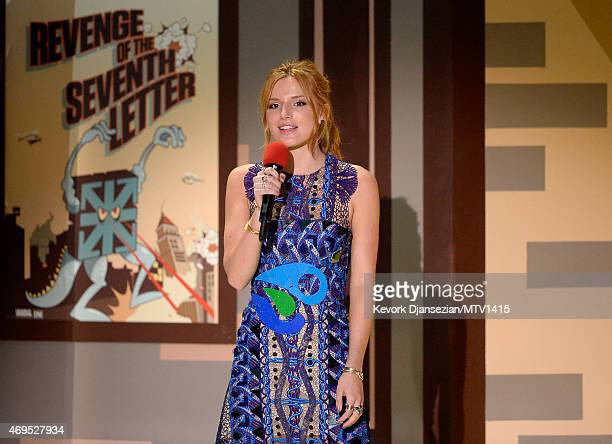 Actress Bella Thorne speaks onstage during The 2015 MTV Movie Awards at Nokia Theatre LA Live on April 12 2015 in Los Angeles California