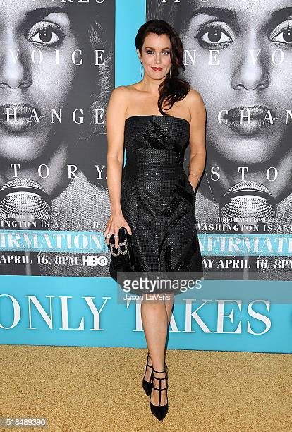Actress Bellamy Young attends the premiere of 'Confirmation' at Paramount Theater on the Paramount Studios lot on March 31 2016 in Hollywood...