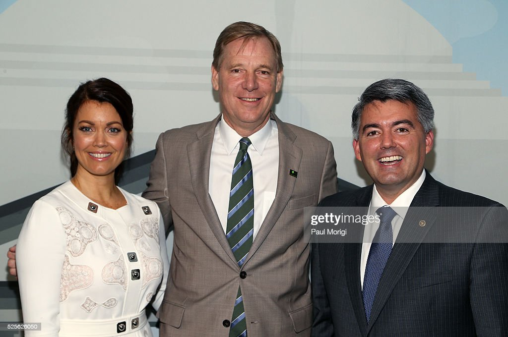 Actress Bellamy Young, President of the National Park Foundation Will Shafroth and Sen. Cory Gardner (R-CO) attend the Trust for the National Mall's Ninth Annual Benefit Luncheon in West Potomac Park on April 28, 2016 in Washington, DC.