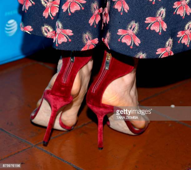 Actress Bellamy Young shoe detail attends Vulture Festival Los Angeles on November 18 in Los Angeles California / AFP PHOTO / TARA ZIEMBA