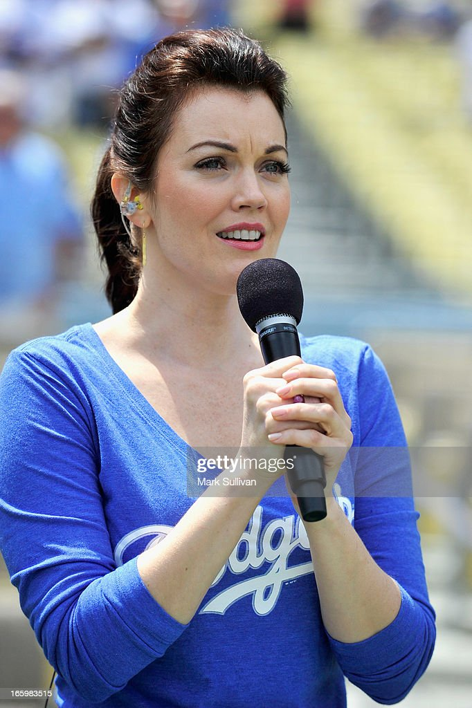 Actress Bellamy Young sings the National Anthem before the LA Dodgers vs Pittsburg Pirate game at Dodger Stadium on April 7, 2013 in Los Angeles, California.