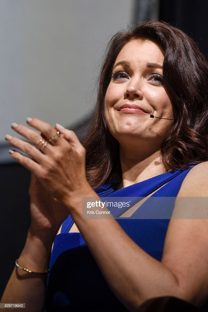 Actress Bellamy Young speaks during the 'Scandal-ous!' event hosted by the Smithsonian Associates with Shonda Rhimes and the cast of ABC's Scandals at the University of District of Columbia Theater of the Arts on April 28, 2016 in Washington, DC.