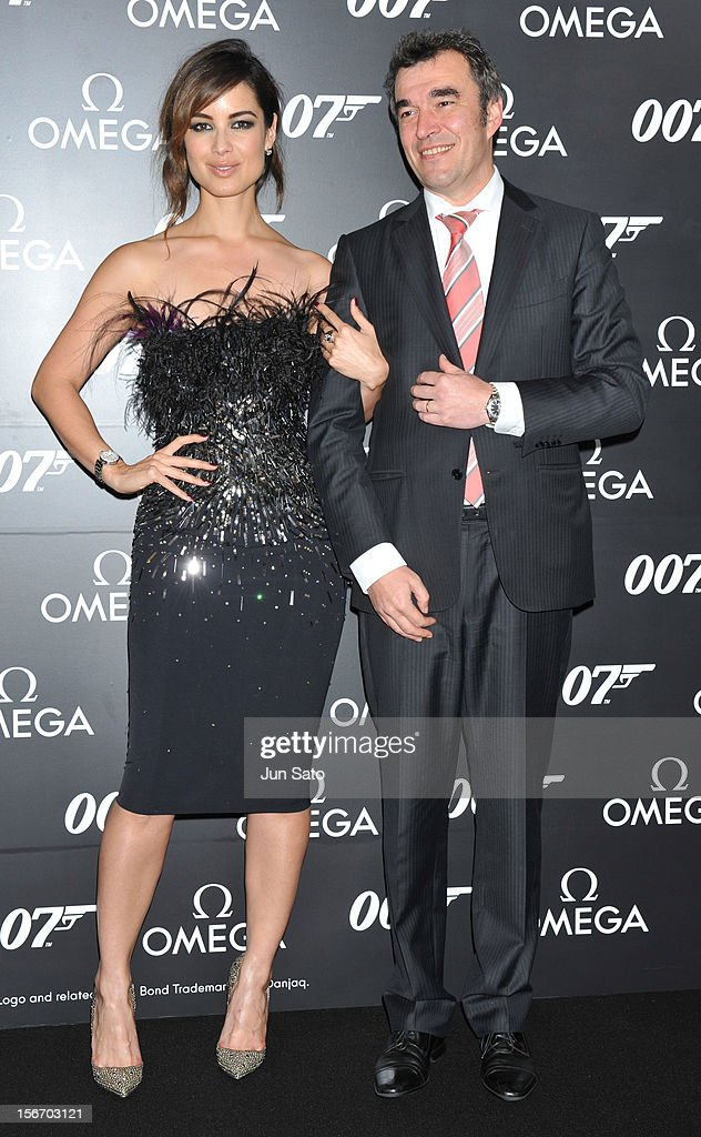 Actress Berenice Marlohe (L) and President and Representative Director Omega Brand Director Christophe Savioz attend the 'Skyfall' Japan Premiere at Toho Cinemas Nichigeki on November 19, 2012 in Tokyo, Japan. The film will open on December 1 in Japan.