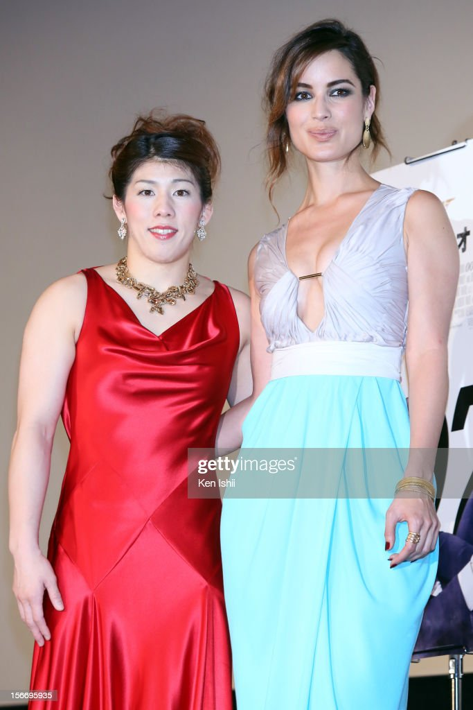 Actress Berenice Marlohe and women's wrestling gold medalist Saori Yoshida attend the 'Skyfall' Japan Premiere at Toho Cinemas Nichigeki on November 19, 2012 in Tokyo, Japan. The film will open on December 1.