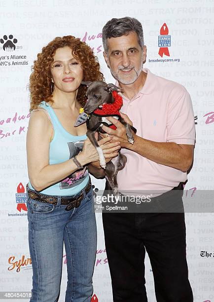 Actress Bernadette Peters and animal trainer Bill Berloni attend the Broadway Barks 17 at Shubert Alley on July 11 2015 in New York City