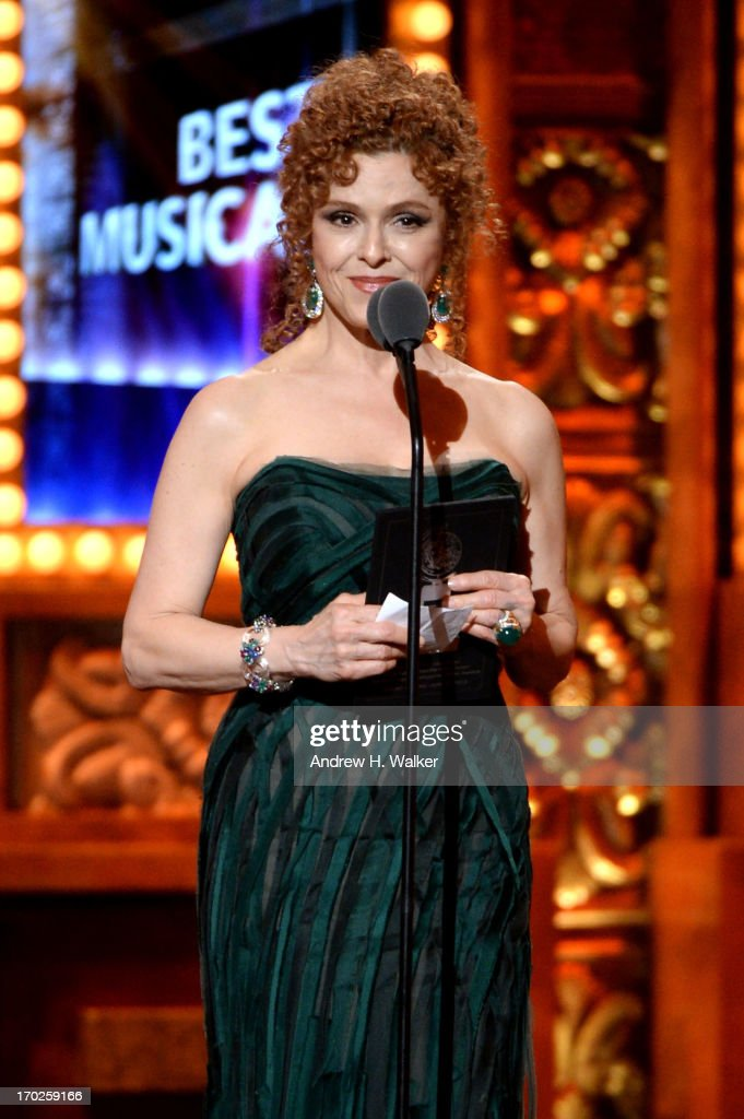 Actress <a gi-track='captionPersonalityLinkClicked' href=/galleries/search?phrase=Bernadette+Peters&family=editorial&specificpeople=203332 ng-click='$event.stopPropagation()'>Bernadette Peters</a> speaks onstage at The 67th Annual Tony Awards at Radio City Music Hall on June 9, 2013 in New York City.