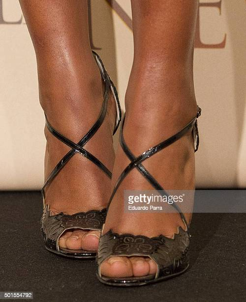 Actress Berta Vazquez shoes detail attends 'Palmeras en la nieve' photocall at Palace hotel on December 16 2015 in Madrid Spain