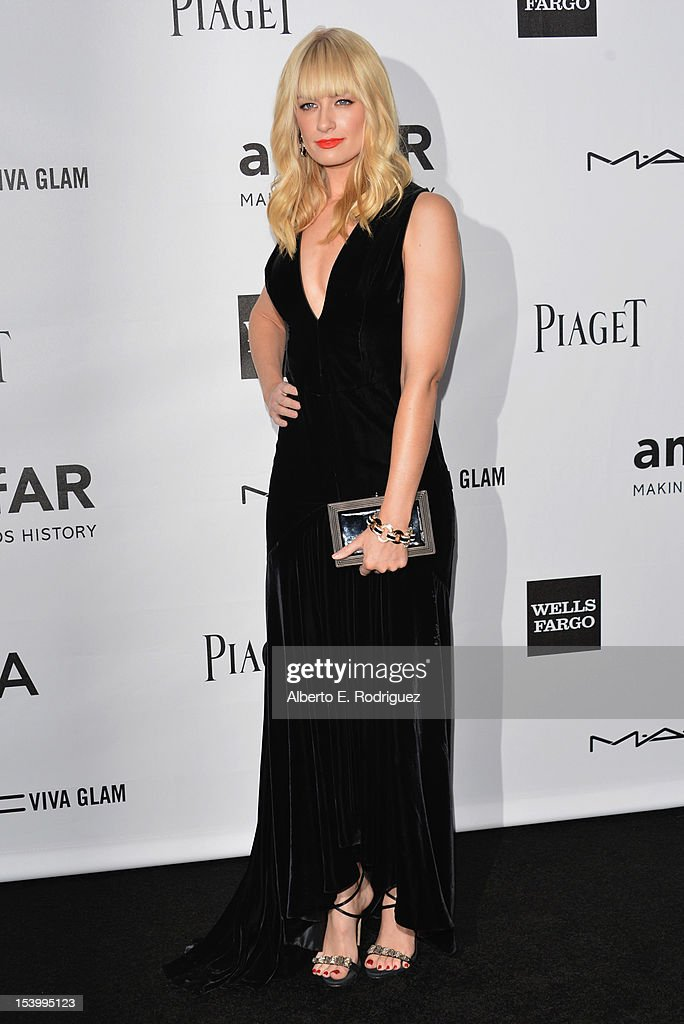 Actress Beth Behr arrives at amfAR's Inspiration Gala at Milk Studios on October 11, 2012 in Hollywood, California.