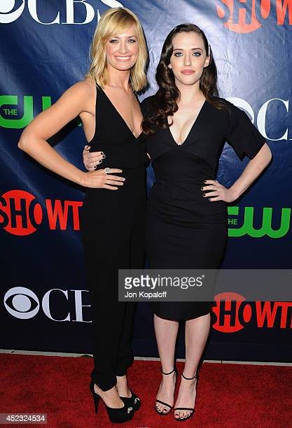 Actress Beth Behrs and actress Kat Dennings arrive at the CBS The CW Showtime CBS Television Distribution 2014 Television Critics Association Summer...