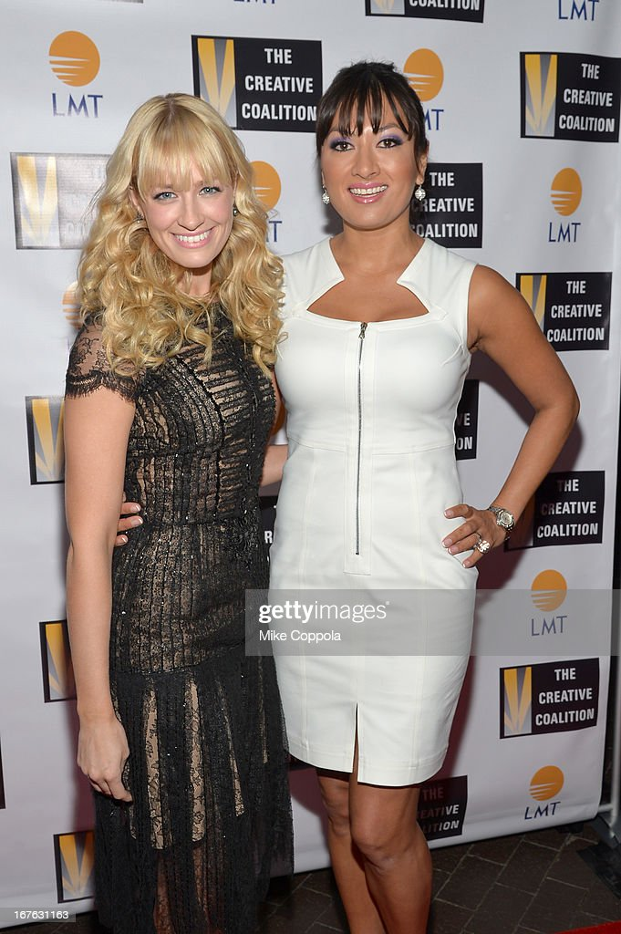 Actress Beth Behrs (L) and President and CEO of Lanmark Technology inc. Lani Hay attend the Celebrating The Arts In American Dinner Party With Distinguished Women In Media Presented By Landmark Technology Inc. And The Creative Coalition at Neyla on April 26, 2013 in Washington, DC.
