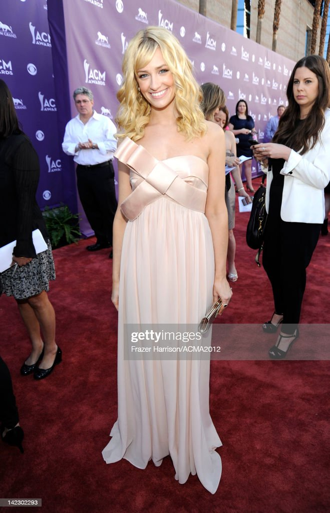 Actress Beth Behrs arrives at the 47th Annual Academy Of Country Music Awards held at the MGM Grand Garden Arena on April 1, 2012 in Las Vegas, Nevada.
