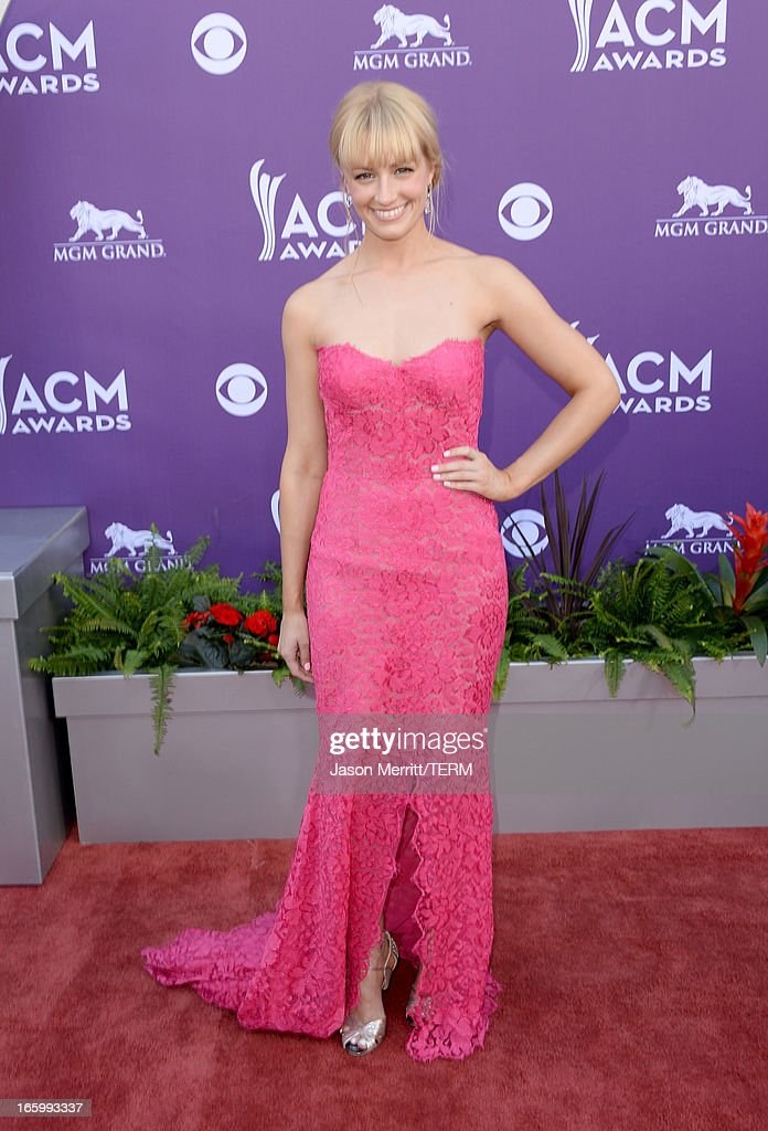 Actress Beth Behrs arrives at the 48th Annual Academy of Country Music Awards at the MGM Grand Garden Arena on April 7, 2013 in Las Vegas, Nevada.