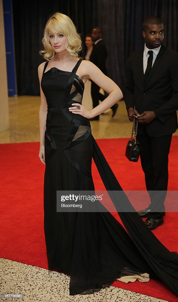 Actress <a gi-track='captionPersonalityLinkClicked' href=/galleries/search?phrase=Beth+Behrs&family=editorial&specificpeople=6556378 ng-click='$event.stopPropagation()'>Beth Behrs</a> arrives for the White House Correspondents' Association (WHCA) dinner in Washington, D.C., U.S., on Saturday, April 27, 2013. The 99th annual dinner raises money for WHCA scholarships and honors the recipients of the organization's journalism awards. Photographer: Scott Eells/Bloomberg via Getty Images