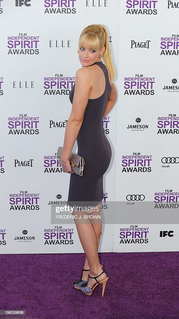 Actress Beth Behrs arrives on the red carpet on February 25, 2012 for the Independent Spirit Awards in Santa Monica, California.