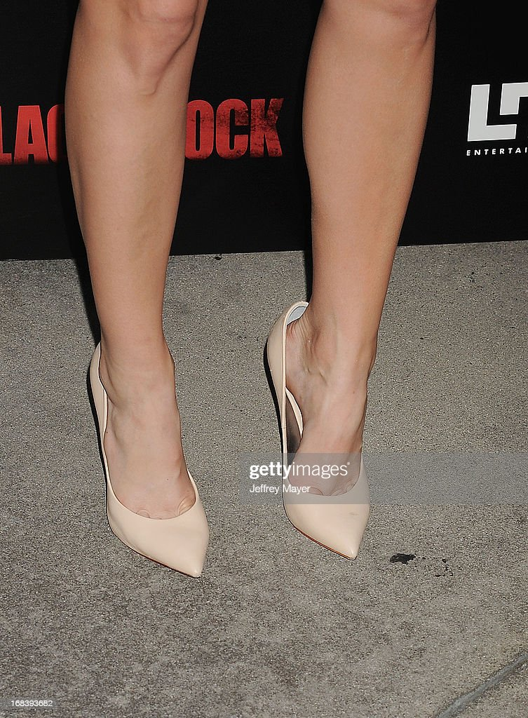Actress Beth Behrs (shoe detail) at the 'Black Rock' Premiere held at ArcLight Hollywood on May 8, 2013 in Hollywood, California.
