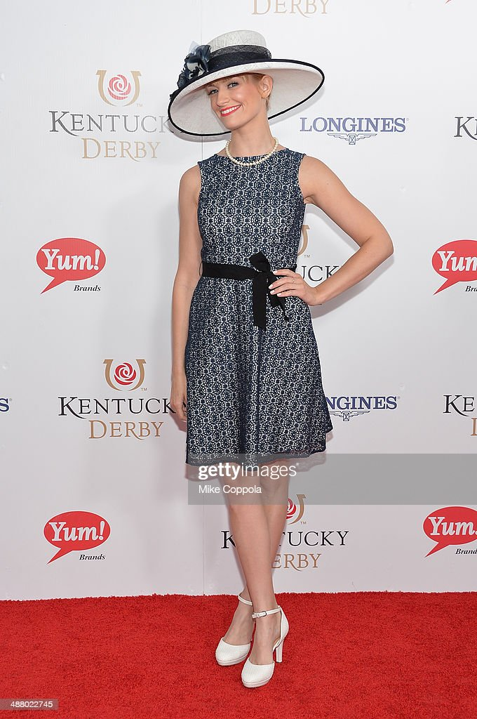 Actress <a gi-track='captionPersonalityLinkClicked' href=/galleries/search?phrase=Beth+Behrs&family=editorial&specificpeople=6556378 ng-click='$event.stopPropagation()'>Beth Behrs</a> attends 140th Kentucky Derby at Churchill Downs on May 3, 2014 in Louisville, Kentucky.