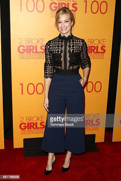 Actress Beth Behrs attends the 100th episode celebration of CBS' '2 Broke Girls' held at Mrs Fish on October 3 2015 in Los Angeles California